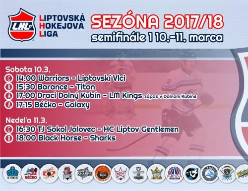 Semifinále 1 LHL - výsledky