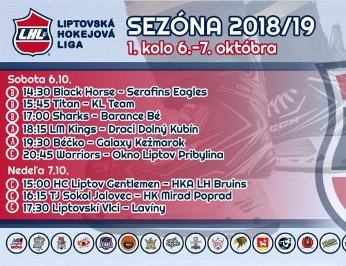 1. kolo LHL 2018/2019 - výsledky