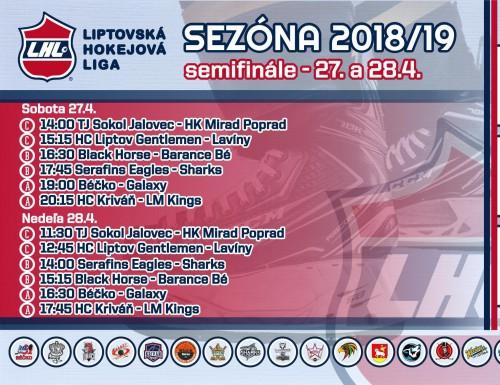 Semifinále LHL - výsledky